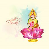 image of laxmi  - Hindu mythological Goddess Laxmi giving blessings on occasion of Hindu community festival Diwali celebrations - JPG