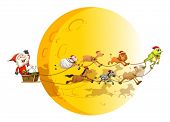 Illustraion of Santa on a sledge with many animals