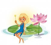 Illustraion of a fairy on a lotus leave