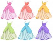 Illustration of dresses in different colors
