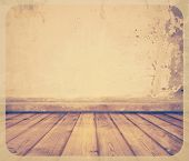 old room with concrete wall and wooden floor, retro filtered, instagram style background