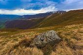 Old stone on Carpathian meadow