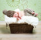 beautiful newborn baby boy asleep in a wicker basket in knitted cap