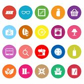 Sewing Cloth Related Flat Icons On White Background