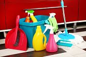 Different tools for cleaning in kitchen