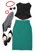 Outfit of clothes and woman accessories