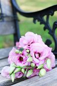 Beautiful bouquet of eustoma flowers on wooden bench in park