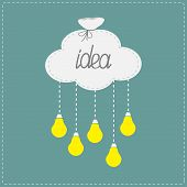 Cloud in shape of bag and hanging light bulbs. Innovation idea concept. Flat design