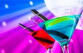 Red And Blue Cocktail With Sparkling Disco Ball Background With Space For Text