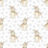 Watercolor polar bear Christmas seamless pattern