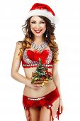 Fantasy. Happy Snow Maiden In Red Lingerie With Gift - Xmas Tree