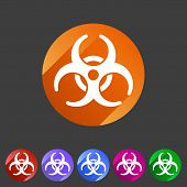 Biohazard flat icon badge