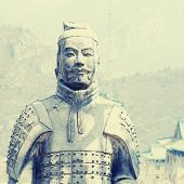 Terracotta Soldiers On Great Wall, China.