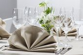 stock photo of catering  - table set for wedding or another catered event dinner - JPG