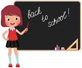 Schoolchild Standing At The Blackboard