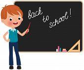 Schoolboy Standing At The Blackboard