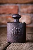 Vintage iron 1 kg weight.