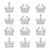 Set of twelve shopping baskets icons