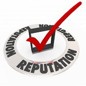 Reputation word on 3d ring around a check box and mark as a seal or certification for the most reputable or credible product, service, company or business