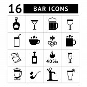 Set Of Bar, Drinks And Beverages Icons