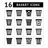 Icons Set Of Trash Basket. Garbage Can For Recycle