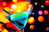 Cocktail With Light Disco Bokeh Background With Space For Text