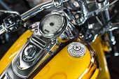 Harley Davidson motorcycle dashboard and speedometer detail