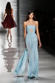 NEW YORK-SEP 8: A model walks the runway at the Reem Acra fashion show during Mercedes-Benz Fashion