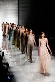 NEW YORK-SEP 8: Models walk the runway at the Reem Acra fashion show during Mercedes-Benz Fashion We