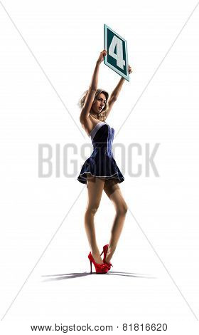 poster of Isolated boxing ring girl  is holding the number 4