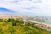 Panorama on Barcelona Seaport .