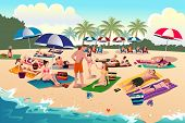 stock photo of sunbather  - A vector illustration of people sunbathing on the beach - JPG