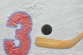 Hockey Stick, Puck And The Numeral Three