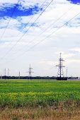 pic of power transmission lines  - Power Transmission Line in outdoor land view - JPG
