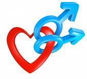 Valentine heart shape connecting male gender symbols for two men