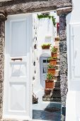 image of greek-architecture  - ?ourtyard of the Greek house. White architecture on Santorini island Greece. - JPG