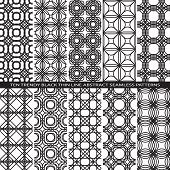 Set of Trendy Vintage Black Thin Line Seamless Pattern Backgrounds with Flower Elements All Present