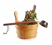 Sauna Accessories - Bucket With Birch Broom And Ladle, Isolated On White