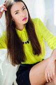 stock photo of straight jacket  - Beautiful girl oriental appearance - JPG