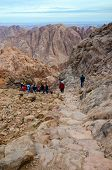 Tourists Descend On The Long Trail From The Top Of Mount Moses, Egypt