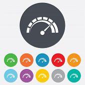 stock photo of speedometer  - Tachometer sign icon - JPG