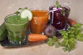 Vegetable Drinks From Cucumbers, Carrots And Beets.