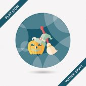 Pumpkin And Broom Flat Icon With Long Shadow,eps10