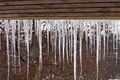 Icicles In Winter With Forest In Background And Wood On Top