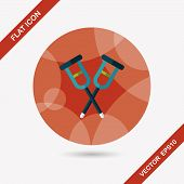 Crutch Flat Icon With Long Shadow,eps10