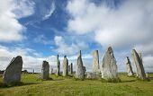 Prehistoric Site With Menhirs In Scotland. Callanish. Lewis Isle