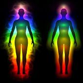 pic of aura  - 3d illustration of rainbow aura of woman  - JPG