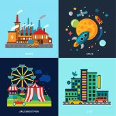 Various cityscapes colored houses, amusement park, night skyscrapers, factory space. Vector