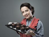 Vintage Housewife With Homemade Muffins