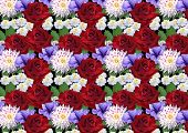 Horizontal seamless background with roses dahlias asters